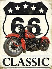 Route 66 Classic Harley Vintage Style Motorbike, Retro Metal Aluminium wall Sign