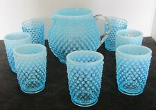 8 PCS FENTON BLUE HOBNAIL OPALESCENT JUICE PITCHER + 7 JUICE GLASSES TUMBLERS