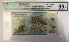 2012 Test Note PWPW Poland PMG 69 EPQ Superb Gem UNC 012 Units