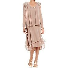 S.L. Fashions Jacket Dress Sz 12 Cashmere Brown Sequined Chiffon Tiered Formal