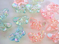20 Acrylic Crystal Pink & Blue Fancy Butterfly Shank Button/Sewing/Trim/Sew Sb54