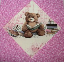 9 Adorable Baby Bear Quilt Top Blocks Pink - Teddy Bears