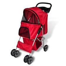 Folding Pet Walking Stroller Pram Pusher Dog/Cat Travel Carrier w/ Storage - Red