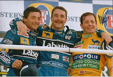 Martin BRUNDLE with MANSELL PATRESE 12x8 SIGNED Photo F1 Autograph AFTAL COA