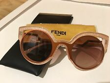 Fendi FF 0137/S NUG-4C Round Sunglasses Orange Glitter Pink/Red Mirror Lens