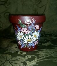 Pretty Flowers On A Little usable Pot - 4 inch Hand painted Flower Pot