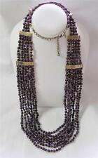 Chico's Terrin Long Necklace Plum Purple and Gold Beads Multi Strand