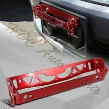 JDM Red Aluminum Bumper Adjustable Tilt License Plate Bracket Kit Universal 2
