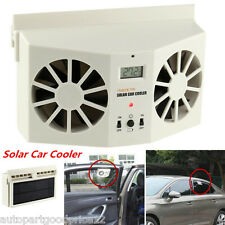 Solar Powered Auto Window Air Vent Cool Dual Fan Cooler Ventilation System Ivory