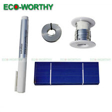 DIY Solar Panel- 40pcs 78x26mm Poly Solar Cells Kit w/Tab, Bus Wire, Flux Pen