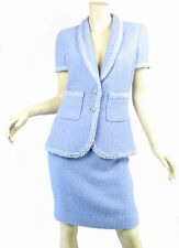 CHANEL 95P 2pc Mini Skirt Jacket Suit Set Lavender Fantasy Tweed Sequin Sz 42 M