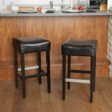 Set of 2 Stylish Black Leather Backless Bar Stools w/ Metal Footrest Cover
