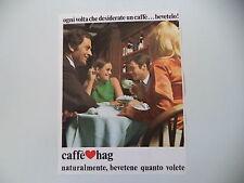 advertising Pubblicità 1969 CAFFE' HAG