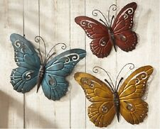 Set of 3 Colorful Butterfly Metal Scroll Wall Art Hangings Indoor Outdoor Decor