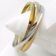 Damen Dreier Armreif Edelstahl Tricolor Armband Silber Gold Roségold beschichtet