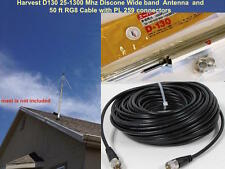 Harvest D130 25-1300mhz Super Discone Wide Band Base Antenna and 50ft RG8x Cable