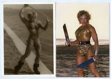 "Two 5"" x 7"" photos Female Bodybuilder Kay Baxter Sword Knife muscle fitness"