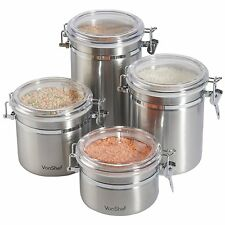 Canister Vault Container Coffee Tea Sugar Storage Jars Stainless Steel Set of 4