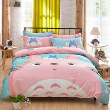 Pink Totoro Duvet Cover Cute Bedding Cartoon  Quilt Set bedSheets Twin Size 3pcs