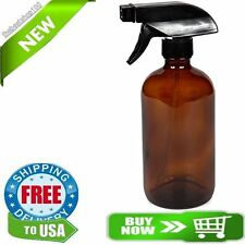 New High Quality Large 16 oz Empty Amber Glass Spray Bottle with Black Trigger