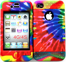 Hybrid Silicone Cover Case Skin IPHONE 4 4S Colorful Tie Dye Pattern on Rainbow