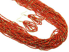 Multi Strand Red And Gold Tone Glass Seed Bead Necklace Earring