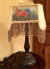 Ornate Table Dresser Lamp Metal Stand Fabric Shade w/ Bead Fringe Bedroom Stand