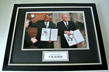 F W de Klerk SIGNED FRAMED Photo Autograph 16x12 display South Africa Politics