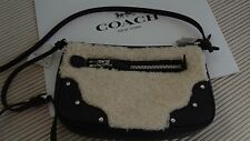 NWT Coach Shearling Small Rhyder Pouchette F36490 Black/Natural w/Gift Box Sale