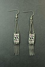 LADIES GUN SILVER RUSTIC LOOK EARRINGS PINK DIAMANTÉ STONES (ZX4)