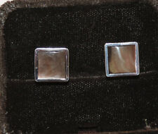 Vintage Swank Silver tone Gray Mother of Pearl MOP Men's Square Cufflink Fa 36