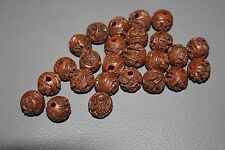 SUPERB ANTIQUE CARVED CHINESE SEED PIT NUT HEDAIO PRAYER BEADS - PEOPLE See