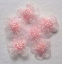 sew on organza pink  flowers appliques set of 6