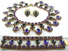 Vintage Necklace Bracelet Earrin Set Egyptian Revival Blue Purple Green Juliana