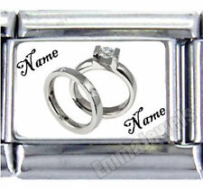 CUSTOM WEDDING BAND RINGS LOGO 9MM ITALIAN PHOTO CHARM