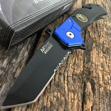 MTECH Police Dept Blue Tanto Tactical Spring Assisted Open Rescue Pocket Knife-T