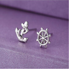 Women Anchor and Rudder Ear Studs Tiny Silver Plated Earrings Cute