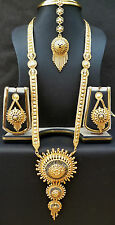 Indian Wedding 11'' long 22K Gold Plated Rani haar Necklace Earrings Jewelry/