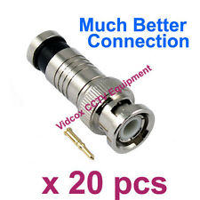 New 20x Compression High Quality RG59 Coaxial BNC Connector Plug for CCTV Camera