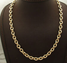 "18"" 7mm Textured Oval Rolo Link Chain Necklace Real 14K Yellow Gold 15.30gr"