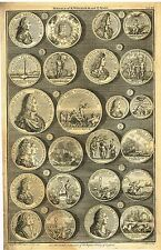 """""""Medals of K. William and Q. Mary"""" from Rapin's HISTORY OF ENGLAND  Pl XII -1745"""