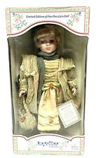 """Porcelain 18"""" Doll by Angelina Visconti Blonde Blue Eyes '03 Green Striped Dress"""