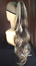Ash Brown Blonde Mix Wavy Long Ponytail Claw Clip In On Drawstring 713