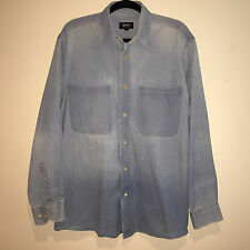 EUC MENS UNIQUE HUGO BOSS DENIM LOOK L/S BUTTON DOWN SHIRT MEDIUM HIPSTER