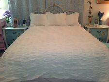 WHITE SHABBY CHIC 100% COTTON CINCHED RUCHED SMOCKED TUFTED QUEEN/F DUVET COVER