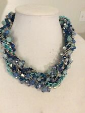 M Haskell Statement Necklace - Blue Beaded Necklace 58