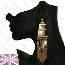 12cm long RETRO TOWER FRINGE vintage style GOLD FASHION EARRINGS chains boho