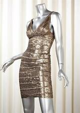 HERVE LEGER Womens Antique Gold Sequin Sleeveless Bandage Bodycon Dress XXS XS