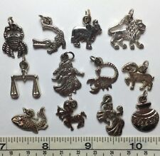 Set of 12 Zodiac Symbols Mini Pendant / Charms Fish, Crab, Lion, Twins, Ram etc.