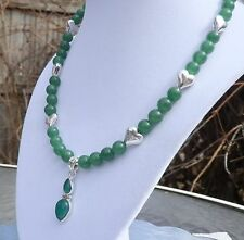 """18"""" Green Aventurine Necklace with Sterling Silver Green Onyx Pendant"""